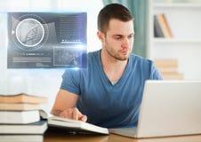 男学生学习与书的和膝上型计算机和科学教育连接图表覆盖物 库存例证