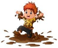男孩一点泥使用 向量例证