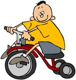 男孩三轮车 向量例证