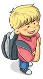 男孩上学 免版税库存照片