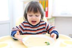 2年男孩不要吃菜奶油色汤 库存图片