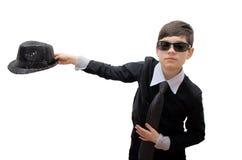 男孩与小步兵战斗的狂欢节服装 免版税库存图片