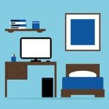 男孩与床,桌,在蓝色和棕色颜色的计算机的卧室内部 库存图片