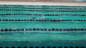 男孩严谨地在接踵而来的体育运动游泳竞赛的蛙泳被训练 活动公共 股票视频