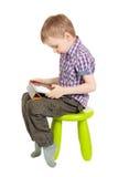 男孩个人计算机片剂 免版税库存图片