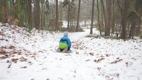 男孩乘驾下来雪橇 股票录像