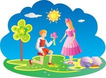 男孩产生年轻人的女花童 免版税库存图片