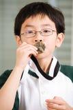 男孩亲吻的奖牌赢取 免版税库存照片