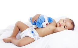 男孩休眠的一点 免版税库存图片