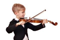 男孩作用小提琴 免版税库存图片