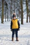 男孩佩带的冬天衣服和手套,站立在森林 库存图片