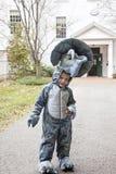 男孩佩带的服装 免版税库存图片