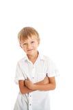 男孩佩带的空白衬衣和黑色牛仔裤 库存照片