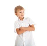 男孩佩带的空白衬衣 免版税库存图片