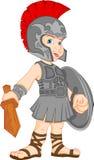 男孩佩带的罗马战士服装 免版税图库摄影