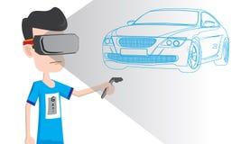 男孩佩带的齿轮和打虚拟现实与vive控制器的汽车比赛 库存图片