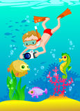 男孩佩戴水肺的潜水的例证 库存照片