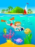 男孩佩戴水肺的潜水的例证 库存图片
