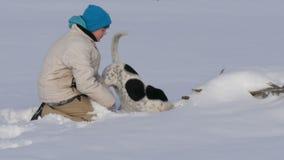 男孩使用与一条狗的少年乐趣在雪的冬天 股票录像
