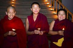 男孩修士佛教徒修道院,加德满都,尼泊尔, 12月2017 图库摄影