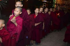 男孩修士佛教徒修道院,加德满都,尼泊尔, 12月2017 免版税库存照片
