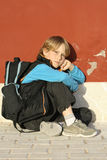 男孩偏僻的学校 库存图片