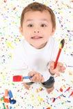 男孩儿童绘画 图库摄影