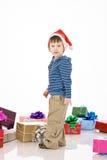 男孩克劳斯帽子圣诞老人 免版税库存图片