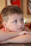男孩八沉思纵向七年 免版税图库摄影
