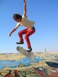 男孩公园冰鞋 图库摄影