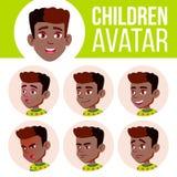 男孩具体化集合孩子传染媒介 投反对票 美国黑人 男孩了解主要读的学校教师 面对情感 主要,儿童学生 生活,情感 向量例证