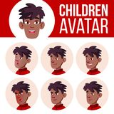 男孩具体化集合孩子传染媒介 投反对票 美国黑人 面对情感 孩子,孩子 友好,啜泣 动画片顶头例证 向量例证