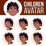 男孩具体化集合孩子传染媒介 投反对票 美国黑人 面对情感 表示,正面人 秀丽,生活方式 动画片 向量例证