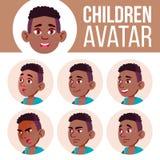 男孩具体化集合孩子传染媒介 投反对票 美国黑人 高中 面对情感 高,儿童学生 小,小辈 动画片 皇族释放例证