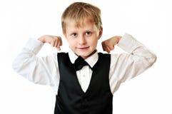 男孩典雅的肌肉陈列 库存图片