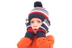 男孩冬天 库存图片