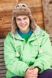男孩冷穿戴的少年天气 库存照片