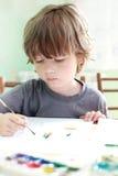 男孩凹道在家 免版税图库摄影