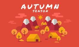 男孩动画片不满意的例证少许向量 秋天森林与秋叶的风景背景,平的样式 秋天秋天森林路径季节 免版税库存图片