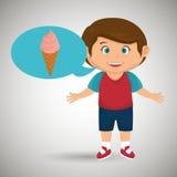 男孩动画片冰淇凌 皇族释放例证