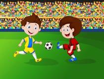 男孩动画片橄榄球使用 免版税库存照片