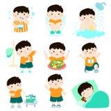 男孩动画片的健康卫生学 向量例证