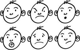 男孩动画片面孔。 向量例证