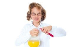 男孩化学家 库存图片