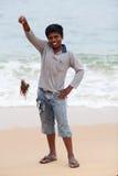 男孩印第安蓑鱼毒物 库存图片
