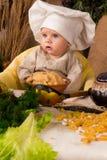 男孩厨师服装一点 免版税库存图片