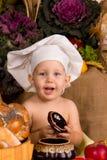 男孩厨师服装一点 免版税库存照片