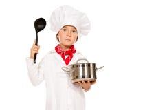 男孩厨师 免版税库存照片