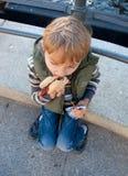 男孩吃热狗 免版税图库摄影