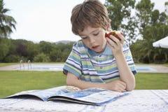 男孩吃苹果计算机,当读户外时 库存照片